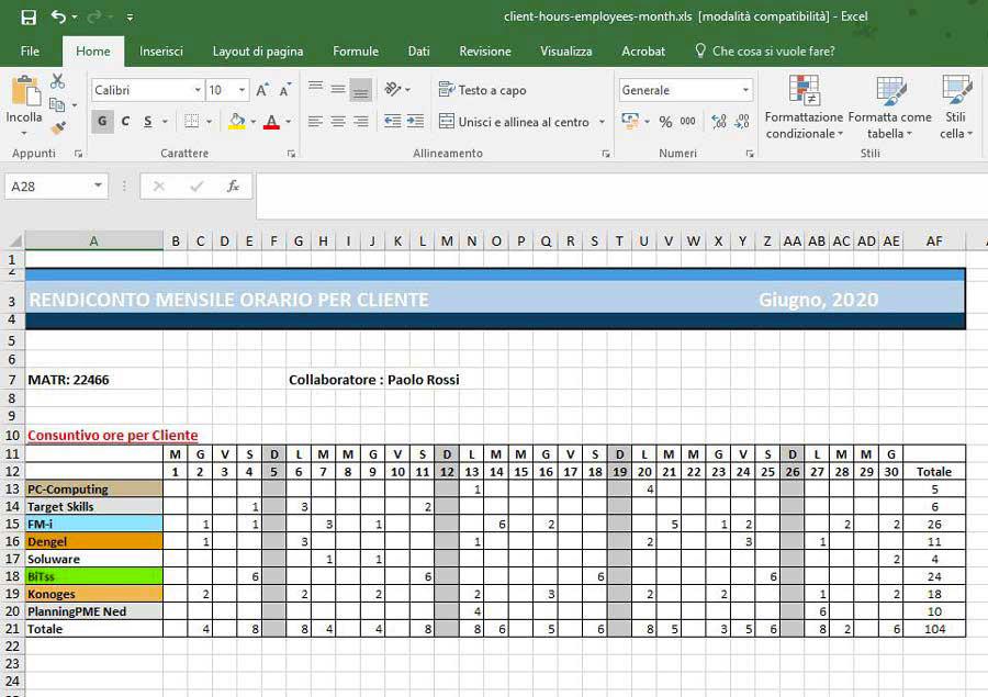 foglio excel planning settimanale