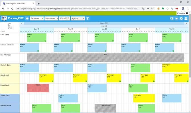 Software di gestione delle risorse umane planningpme for Software di pianificazione del garage